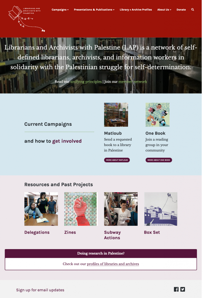 screenshot of Librarians and Archivists with Palestine website
