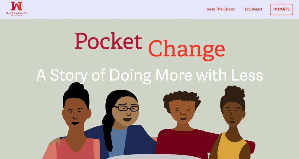 screenshot of Pocket Change website, with illustration of people sitting around a table
