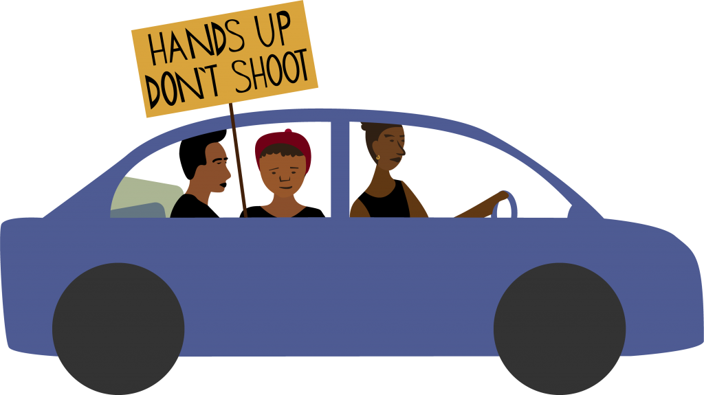 illustration of people in car going to a demo, holding a sign saying 'hands up don't shoot'