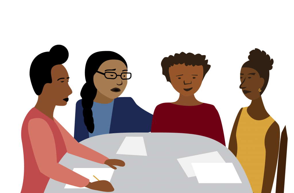 illustration of women of color talking at a meeting around a table