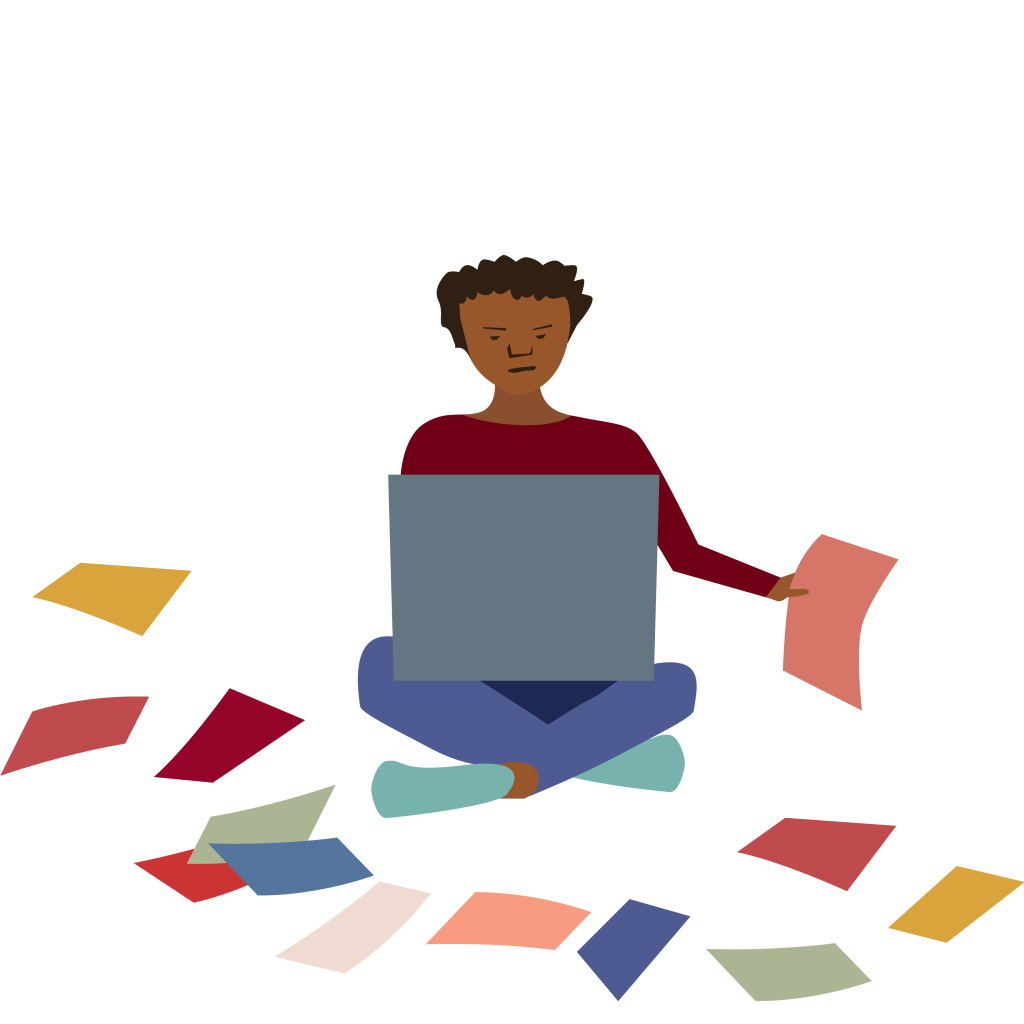 illustration of young woman sitting on the floor with laptop, surrounded by brightly colored papers